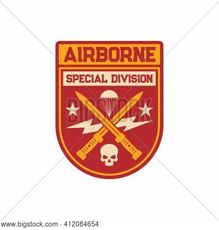 Airborne Special Division Military Chevron With Crossed Swords, Parachute And Skull Patch On Uniform