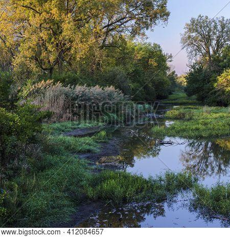 Prairie Creek Flows Through Midewin National Tallgrass Prairie In Will County, Illinois In Early Aut