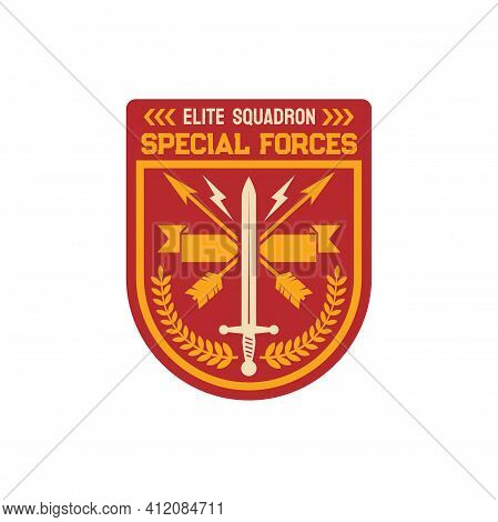 Special Forces Elite Squadron Chevron, Infantry Troops Military Squad With Crossed Arrows, Heraldry