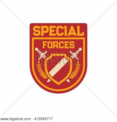 Infantry Troops Military Squad With Crossed Swords, Frame And Heraldry Olive Branches. Vector Specia