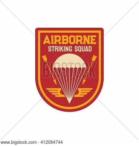 Airborne Striking Squad Special Division Military Chevron With Parachute And Arrows Isolated Patch O