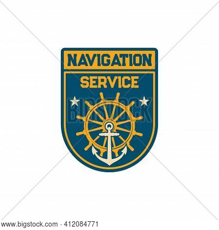 Navigation Service Special Squad Navy Marine Maritime Forces With Anchor And Steering Wheel Isolated