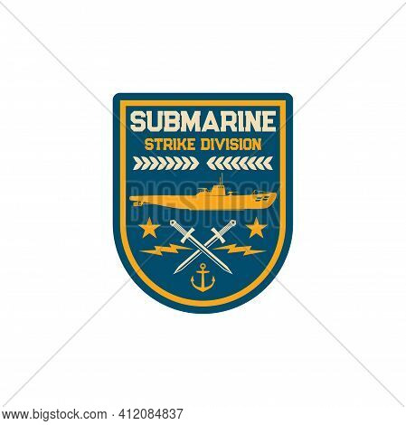 Naval Strike Division Submarine Maritime Special Squad Isolated Army Chevron. Vector Patch On Unifor