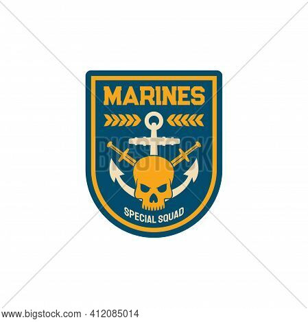 Maritime Forces Patch On Uniform With Sword Anchor, Dead Mariner Skull Isolated Special Squad Emblem