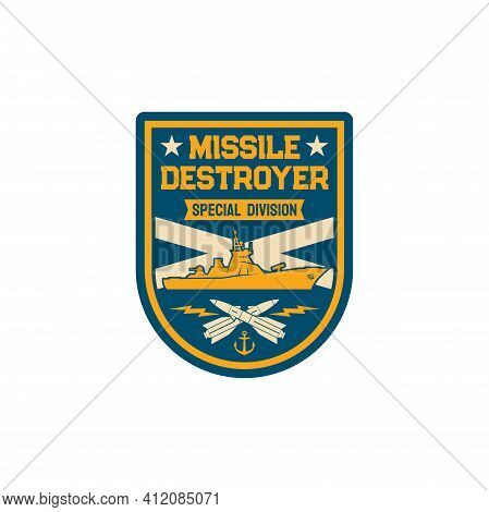 Missile Destroyer Special Division Isolated Maritime Navy Chevron With Crossed Torpedoes And Submari
