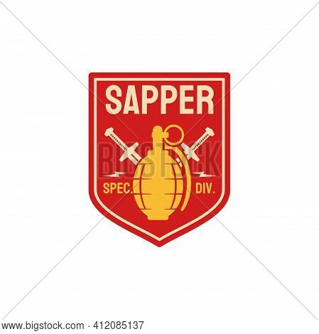 Military Chevron Of Sappers Combat Engineers Squad With Sapper Equipment Bomb And Crossed Swords. Ve