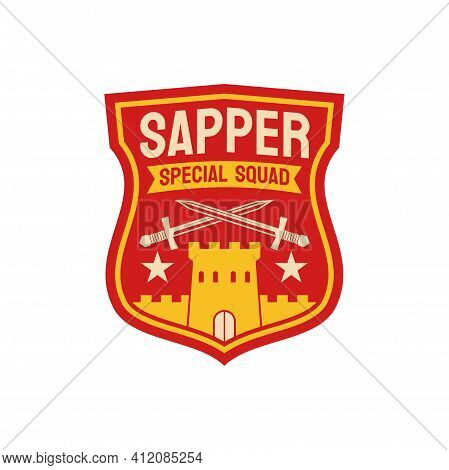 Combat Engineers Special Division Of Sapper Squad Isolated Chevron With Fortress Castle And Crossed