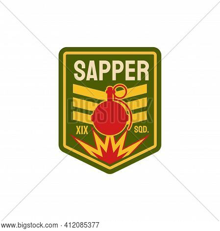 Military Chevron Of Sappers Combat Engineers Squad Isolated Patch On Uniform With Fire And Bomb. Vec