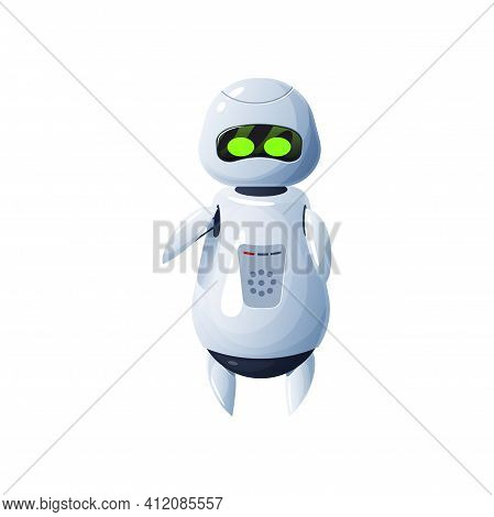 Android Robot Waving Plastic Mechanical Droid With Green Eyes Isolated Artificial Intelligence Machi