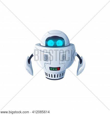 Humanoid Robot Isolated Futuristic Cyborg Digital Character With Big Digital Eyes. Vector Modern Kid