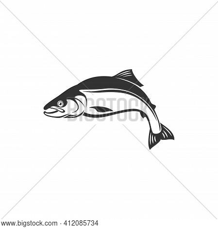 Pelagic Fish, Mackerel Atlantic Chub, Family Scombridae Isolated Monochrome Icon. Vector Wahoo Scomb