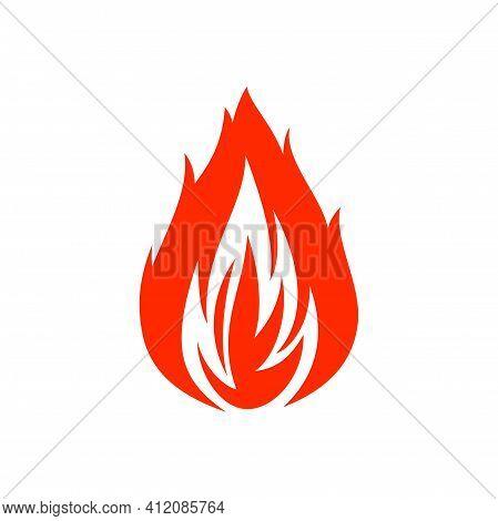 Flaming Fire Blaze Isolated Flat Cartoon Icon. Vector Hot Ignite Symbol, Orange Blazing Fire Flame.