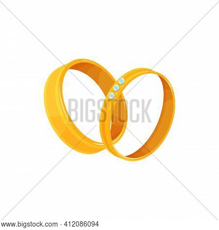 Golden Wedding Rings With Decor Of Diamond Germs Isolated Icon. Vector Jewelry With Diamonds Brillia