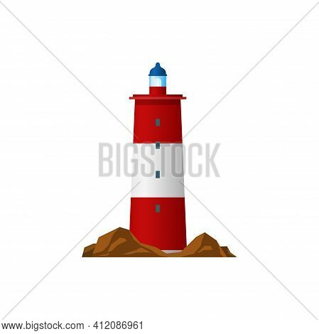 Lighthouse Isolated Searchlight Tower. Vector Red Beacon Building, Marine Navigation Symbol, Navy Sa