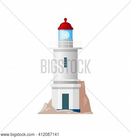 Sea Lighthouse, Marine Beacon Isolated White Building Icon. Vector Nautical Tower, Tall Construction
