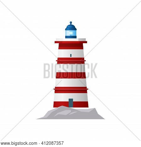 Lighthouse Or Sea Tower Light, Nautical Ocean Navigation And Signal Beacon, Vector Icon. Coast Trave