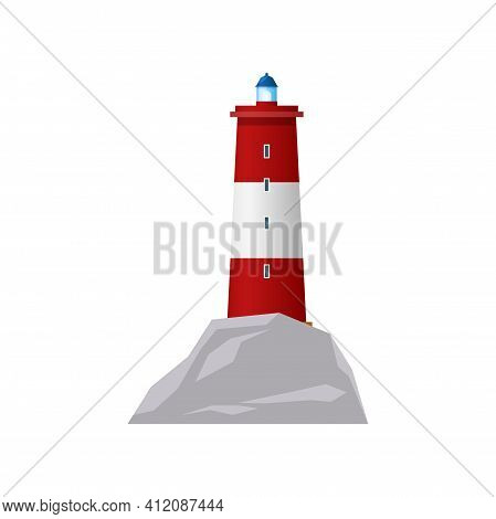 Lighthouse Or Sea Beacon Tower Light, Nautical Searchlight Vector Flat Isolated Icon. Ocean Navigati
