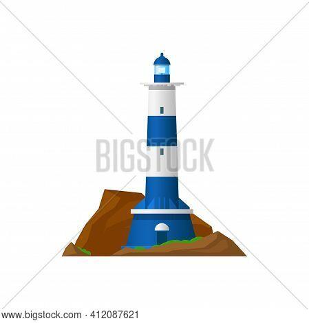 Lighthouse Beacon Tower, Nautical Cost Searchlight, Vector, Sea Light Or Coast Navigation And Sailin