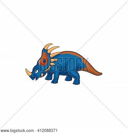 Dinosaur Cartoon Prehistoric Horned Animal Isolated Horned Dino. Vector Kind Triceratops, Horned Din