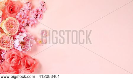 Spring Or Summer Flower Composition, Still Life, Banner, Minimal Holiday Concept. Greeting Card For