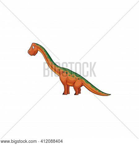 Brontosaurus Isolated Cartoon Tyrannosaurus With Long Neck. Vector Apatosaurus Brontosaurus Excelsus