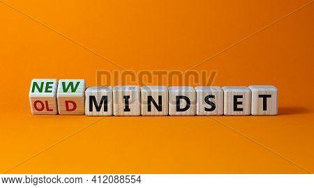 New Vs Old Mindset Symbol. Turned Wooden Cubes And Changed Words 'old Mindset' To 'new Mindset'. Bea