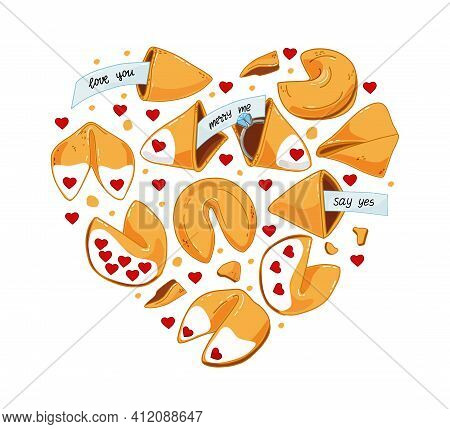 A Set Of Chinese Cookies With Predictions, With An Engagement Ring, A Declaration Of Love. The Engag