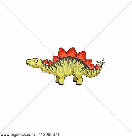 Stegosaurus Stenops, Ungulatus And Sulcatus, Ancient Lizard Isolated Icon. Vector Stegosaurus Cartoo