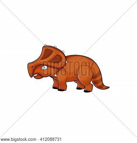 Stegosaurus Lizard Isolated Prehistoric Dinosaur With Horn. Vector Herbivorous Thyreophoran Dinosaur