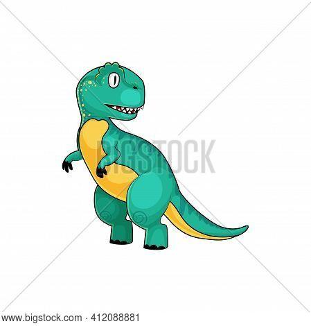 T-rex Green Dinosaur Isolated Cartoon Tyrannosaurus. Vector Theropod Dino Animal, Parasaurolophus Fu