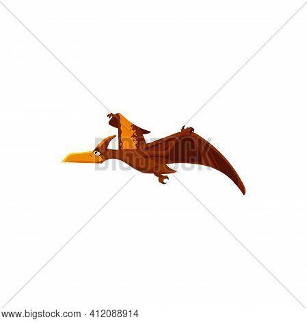 Pterodactylus Cartoon Dinosaur Kids Toy In Flight Isolated Cartoon Bird Animal. Vector Pteranodon Pt