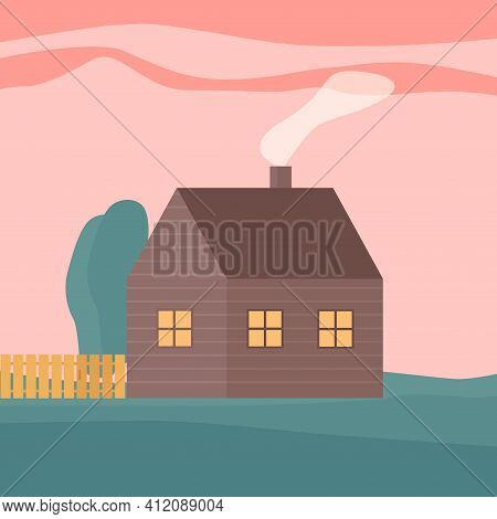 Cute Living House. Ecological Building With Chimney. Flat Vector Illustration.