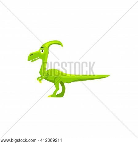 Dinosaur Parasaurolophus Skull With Crest Isolated Kids Toy Robot. Vector Parasaurolophus In Green C