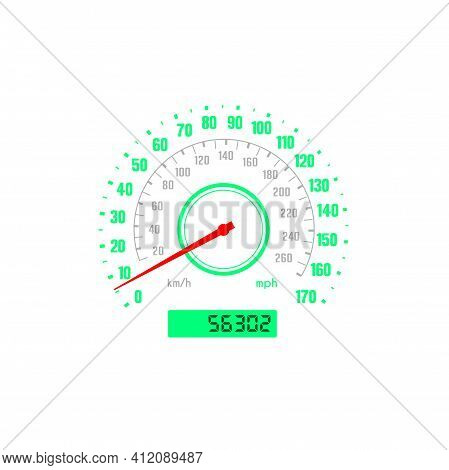 Speedometer, Car Gauge With Scale Speed, Auto Dial Km Or Kilometer Odometer, Vector Dashboard Gage.