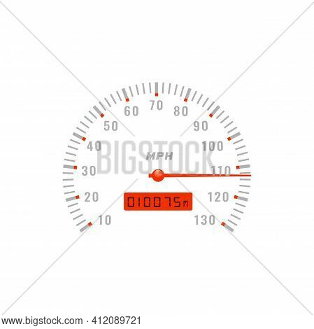 Speedometer Gauge, Car Speed Dashboard Odometer, Vector Gage Scale Dial Counter. Speedometer With Mp