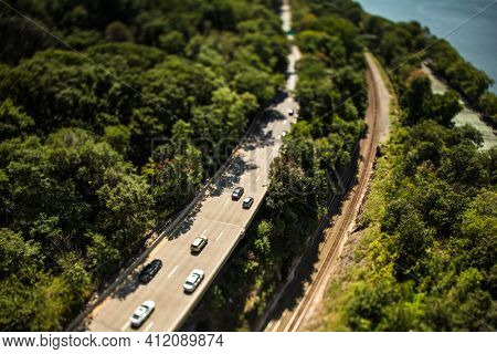 NYC road traffic seen from George Washington Bridge - shot with a tilt-shift lens for miniature effect