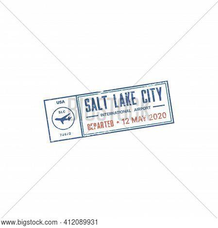 Passport Stamp Travel Visa Or Customs Of Usa, America International Airport City Departure, Vector I