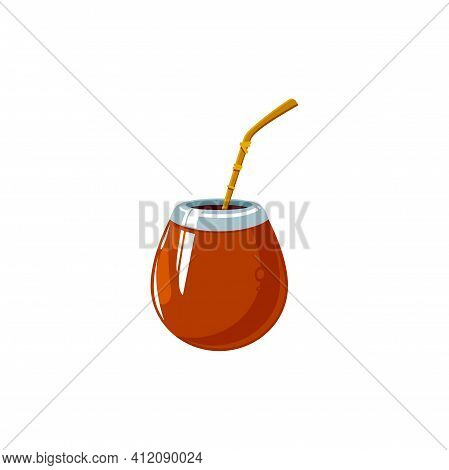 Iced Tea With Straw Isolated Summer Refreshing Drink. Vector Refreshing Lemonade, Long Island Iced T