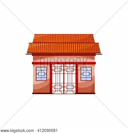 Traditional Chinatown House Facade Exterior Design Isolated Temple Gate. Vector Red Building Ancient