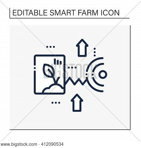 Crop Monitoring Line Icon. Monitoring Different Fields And Crops. Show Dynamics Of Harvest Developme