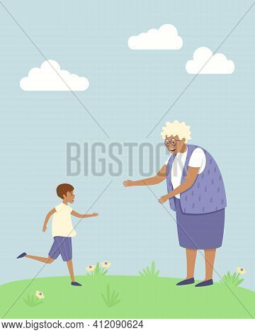 Happy Grandson Runs To His Grandmother. The Boy Is Glad That He Saw His Grandmother. Spring And Summ
