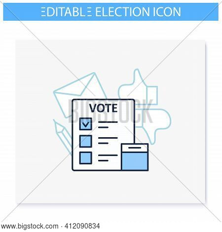 Election Line Icon. Voting Form, Ballot Or Checklist With Check Mark. Choice, Vote Concept. Democrac