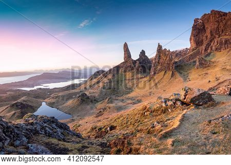Panorama Of Old Man Of Storr, Isle Of Skye, Scotland. Rocks Mountains And Breathtaking Views Of Scot