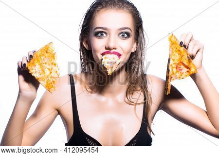 Crazy Woman Holding Tasty Big Slice Of Pizza. Funny Girl Eat Pizza Isolared On White