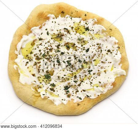 homemade labneh manakeesh isolated on white background