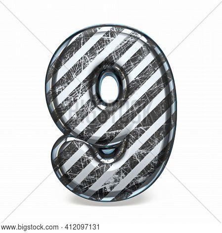 Striped Steel Black Scratched Font Number 9 Nine 3d Render Illustration Isolated On White Background