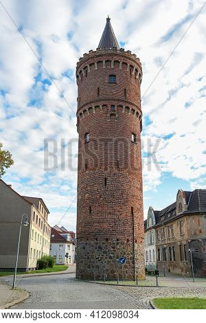 Fangelturm In Friedland (mecklenburg-vorpommern), Round Medieval Fortified Tower Built Of Brick, For