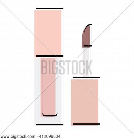 Lip Gloss Silhouette. Makeup Accessory. Vector Illustration.