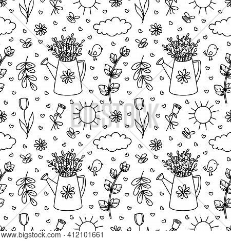 Spring Gardening Doodles Seamless Pattern. Hand Drawn Watering Can With Willow Branches, Flowers, Su