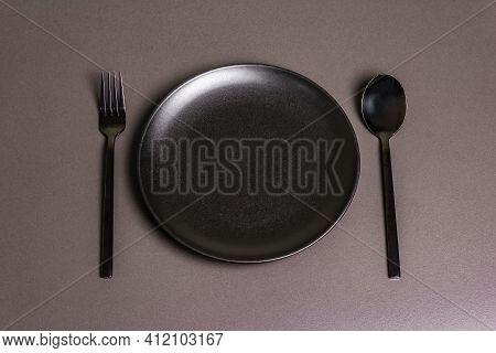 Festive Creative Black Table Setting On Dark Background